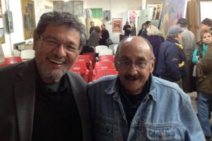 El escritor Élmer Mendoza con el pintor Álvaro Blancarte. Foto: Enrique Mendoza