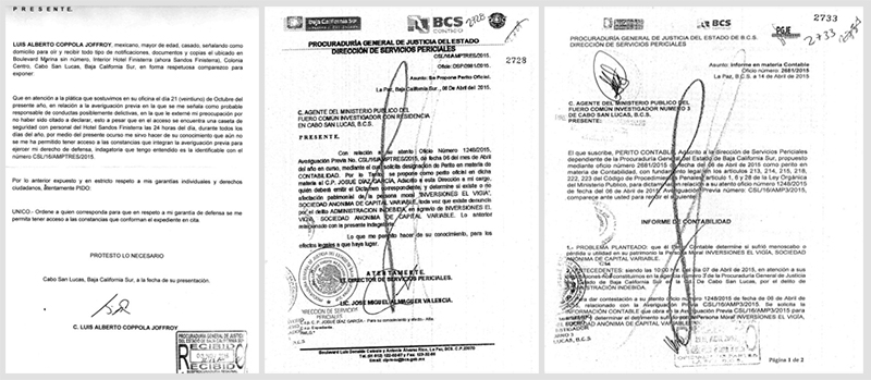 En el primer oficio, expedido el 8 de abril de 2015, el director de Servicios Periciales, designa al perito en Contabiilidad,  Josue Diaz Garcia y enel segundo oficio, tras rendir su informe, el propio perito confirma que reviso la documentacion en la agencia del Ministerio Publico, cuando ni siquiera habia sido nominado de manera oficial