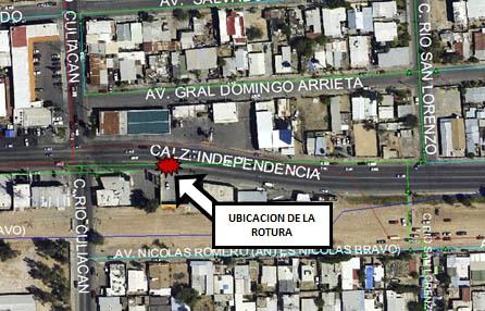 Foto: Cortesía CESPM/Mapa de ubicación ruptura