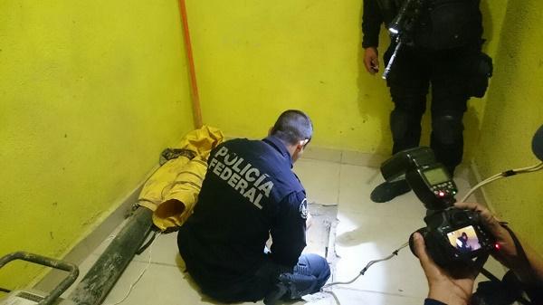Agentes federales localizaron un hoyo cubierto por loseta por el cual se descendía al túnel.
