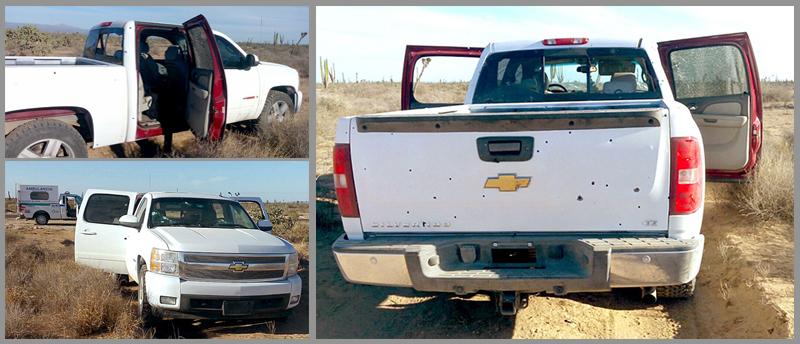 Asi fueada la camioneta color blanco, Silverado Chevrolet. in los tripulantes abordo y completamenterafagueada en una brecha al ejido Emiliano Zapata encontr