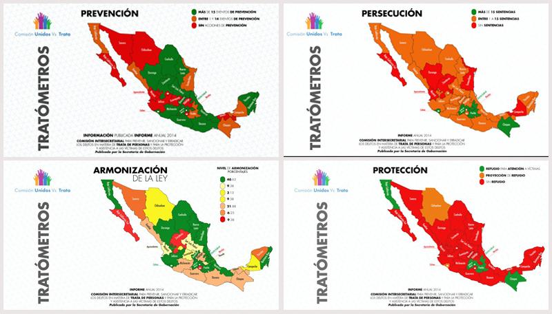 En las siguientes graficas puede verse claramente que el estado de Baja California Sur, carece de un programa de prevencion, persecucion y proteccion de victimas del delito de tratas de personas., asi como no tiene amordazada la ley de YTrata de Personas