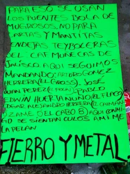 "narcomensaje cartel del ""gross"""
