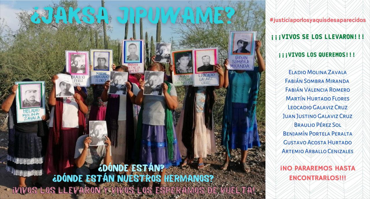 Las mujeres yaquis circularon este cartel en redes sociales para visibilizar la desaparición de sus familiares. Cortesía: Tribu Yaqui.